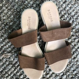 Bamboo double Strap Wedges
